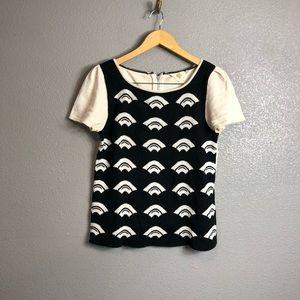 HWR Anthropologie fan print knit top sz medium